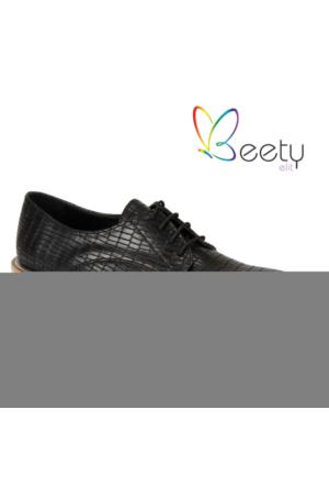 Beety 7302 Siyah Bağcıklı Bayan Ayakkabı