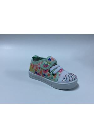 Gezer Beyaz Yeşil Çocuk Keten Ayakkabı