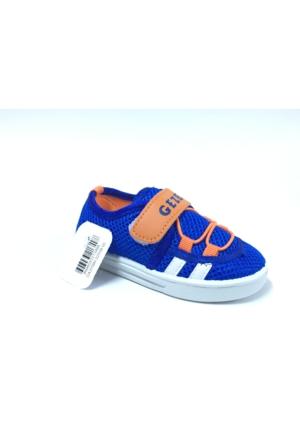 Gezer Mavi Turuncu Çocuk Keten Cırtlı Ayakkabı