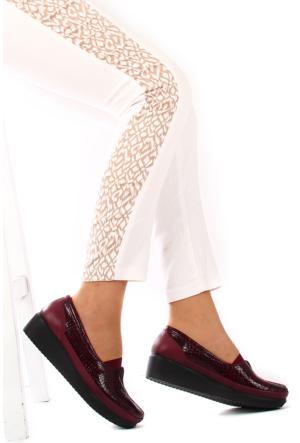 Gön Deri Kadın Ayakkabı 33012 Bordo Krakoya Bordo