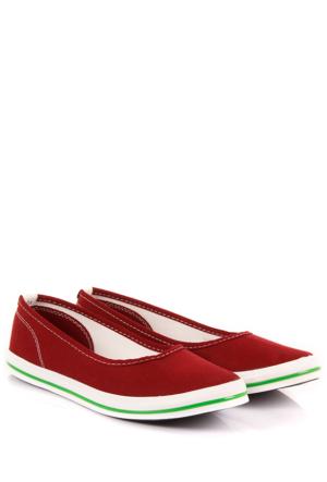 Gön 35998 Bordo Keten Trend Kadın Ayakkabı