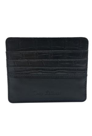 Tony Bellucci T129-942 Kroko Siyah Gerçek Deri Kartlık