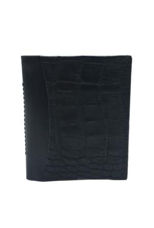 Tony Bellucci T134-945-999 Kroko Siyah Gerçek Deri Kartlıklı Mini Cüzdan