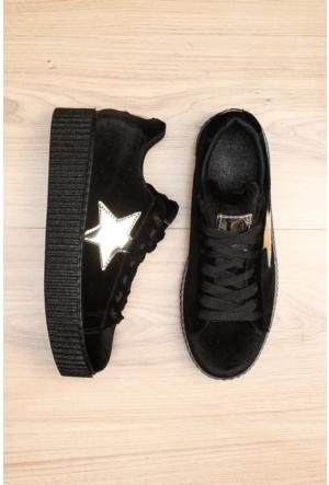 Limited Edition Siyah Bayan Kadife Ayakkabı