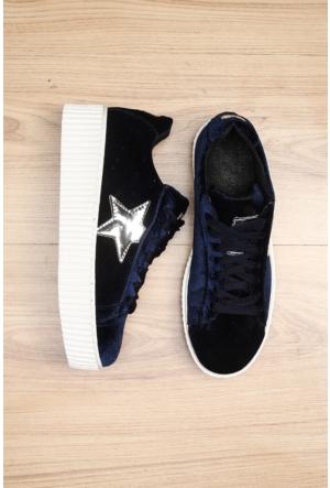 Limited Edition Lacivert Bayan Kadife Ayakkabı