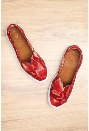 Limited Edition Kırmızı Bayan Hakiki Deri Ayakkabı