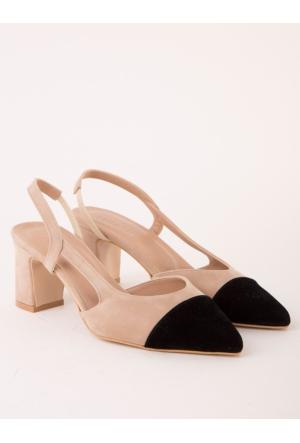 Mecrea Lorin Bej Siyah Tasarım Topuklu Sandalet