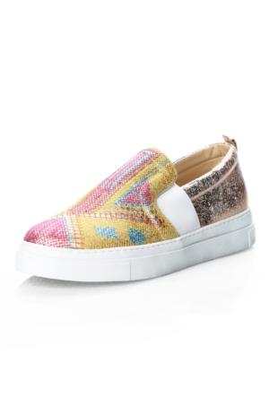 Oflaz 3809 Altın Sımlı Somon Nakışlı Ayakkabı