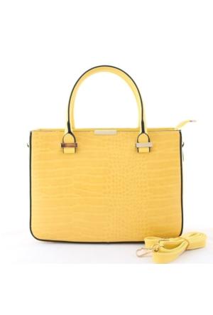 Biggi 3419 Kadın El Çantası Kroko Sarı