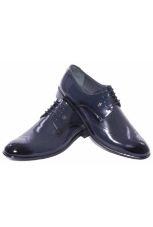 Giyimgiyim Lacivert Desenli Deri Erkek Klasik Ayakkabı