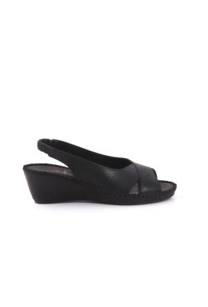 Kemal Tanca Kadın Siyah Dolgu Topuk Sandalet