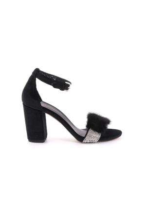Rogue Kadın Siyah Kadife Abiye Ayakkabı