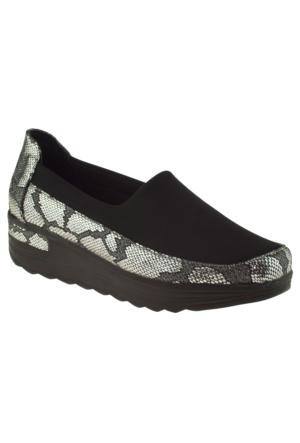 Arıcı 1001 Desenli Mokasen Gri Kadın Ayakkabı