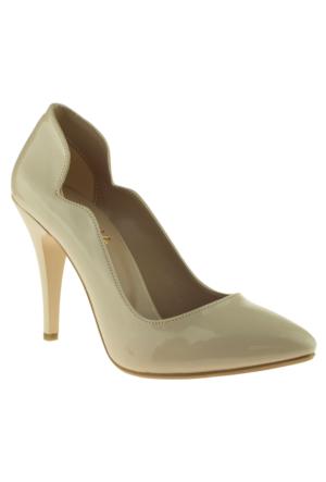 Alisolmaz 755-2 Yakalı Stiletto Bej Kadın Ayakkabı