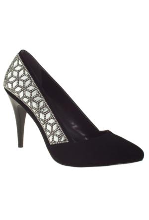 Alisolmaz 3052-1 Yanlar Sıra Tas Klasik Siyah Kadın Abiye Ayakkabı