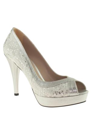 Alisolmaz 3072 İşlemeli Topuklu Gümüş Kadın Abiye Ayakkabı