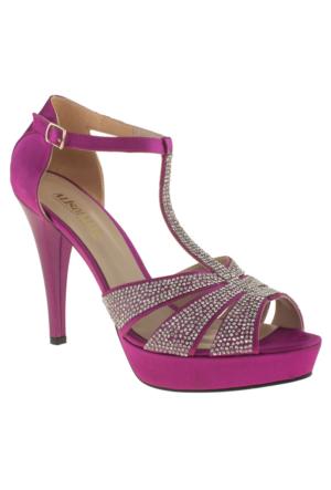 Alisolmaz 3127 İşlemeli Topuklu Fuşya Kadın Abiye Ayakkabı