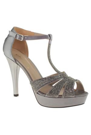 Alisolmaz 3127 İşlemeli Topuklu Gümüş Kadın Abiye Ayakkabı