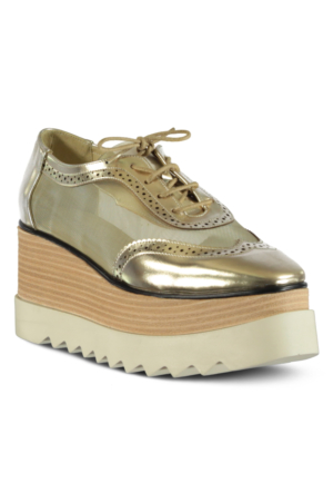 Marjin Henra Dolgu Topuk Ayakkabı Altın