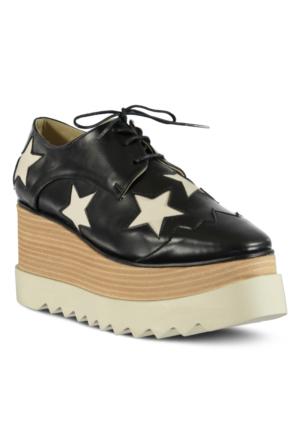 Marjin Lesta Dolgu Topuk Ayakkabı Siyah