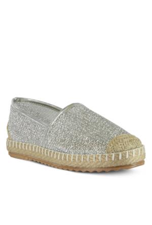 Marjin Venta Düz Espadril Ayakkabı Gümüş