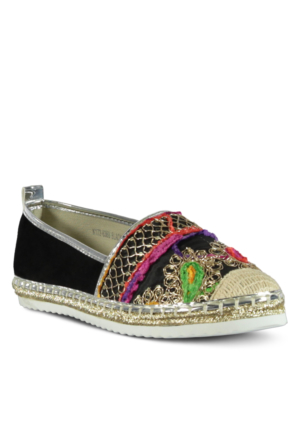 Marjin Velna Düz Espadril Ayakkabı Siyah