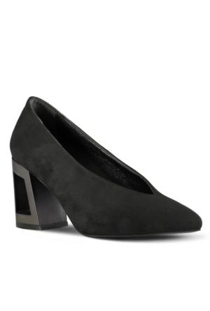 Marjin Edis Topuklu Ayakkabı Siyah Süet