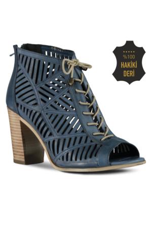 Marjin Rosti Topuklu Ayakkabı Kot Mavi
