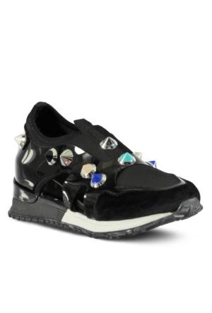 Marjin Tenva Düz Spor Ayakkabı Siyah