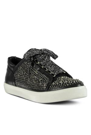 Marjin Nitan Düz Spor Ayakkabı Siyah