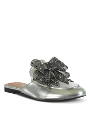 Marjin Neyra Düz Terlik Gümüş