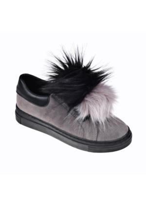 Tak Çıkar Ponponlu Ayakkabı - Gri Siyah - Zenneshoes