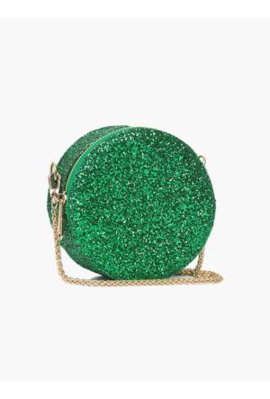 Roman Gold Zincir Detaylı Yeşil Parlak Clutch Kadın Çantası