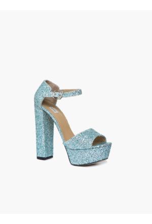 Roman İşleme Detaylı Mavi Parlak Topuklu Kokteyl Kadın Ayakkabı