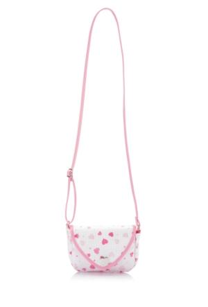 DeFacto Kız Çocuk Kalp Desenli Pullu Çanta Beyaz