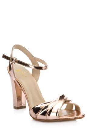 DeFacto Kadın Yüksek Topuklu Parlak Sandalet Altın