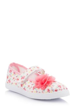 DeFacto Kız Çocuk Çiçek Desenli Bağcıksız Ayakkabı Pembe