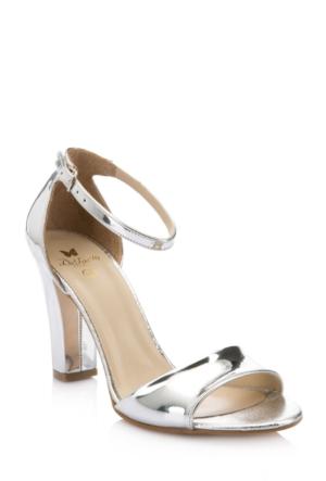 DeFacto Kadın Yüksek Topuklu Parlak Sandalet Gümüş