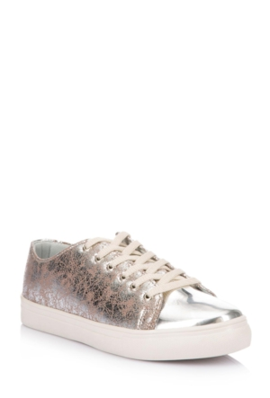 DeFacto Kadın Parlak Tasarım Ayakkabı Gümüş
