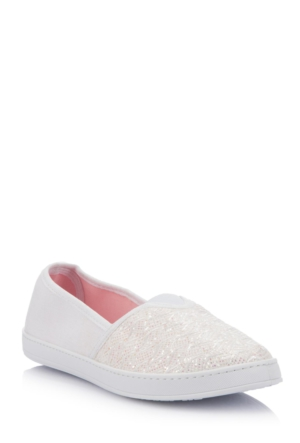 DeFacto Kız Çocuk Dokulu Kanvas Ayakkabı Beyaz