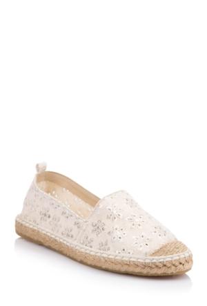 DeFacto Kadın Desen İşlemeli Espadril Ayakkabı Beyaz