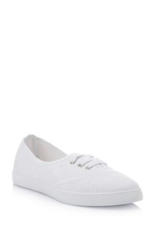 DeFacto Kadın Desen İşlemeli Yazlık Ayakkabı Beyaz