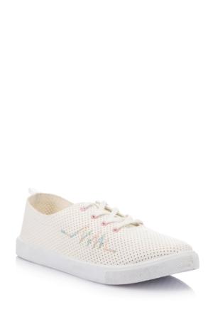DeFacto Kadın Delikli Bağcıklı Ayakkabı Beyaz
