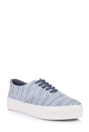 DeFacto Kadın Çizgi Desen Kanvas Ayakkabı Lacivert