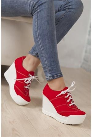 Ayakkabı Yolla Kırmızı Dolgu Spor Yh103