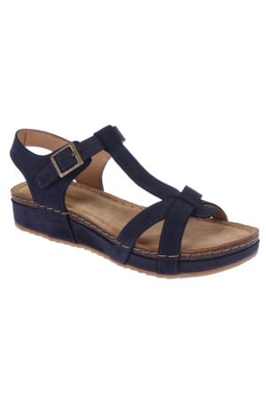 Greyder Gry 50210 Lacivert Nubuk Hakiki Deri Günlük Kadın Sandalet