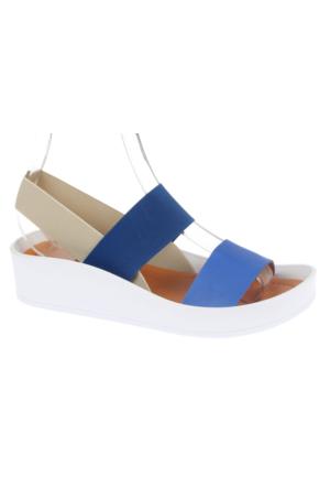 Shalin Szr 650 Mavi Hakiki Deri Kadın Sandalet