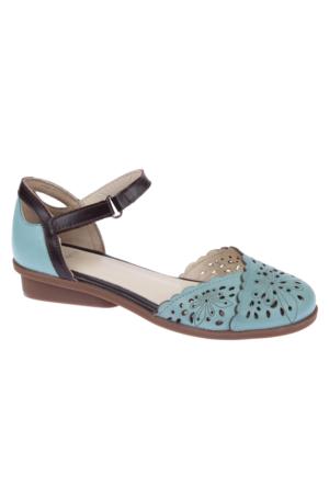 İloz Snj 123623 Buz Mavi Hakiki Deri Kadın Sandalet
