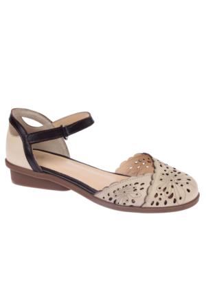 İloz Snj 123623 Bej Hakiki Deri Kadın Sandalet