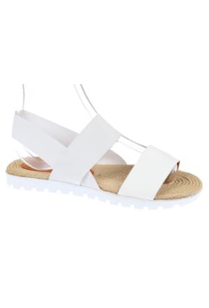 Shalin Szr 550 Beyaz Hakiki Deri Kadın Sandalet